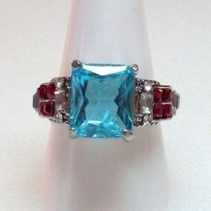 Ring Size 8.5 Simulated Diamond Sapphire Ruby 299